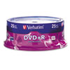 VER95033 DVD+R Discs, 4.7GB, 16x, Spindle, Silver, 25/Pack VER 95033
