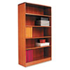 ALEBCR56036MO Radius Corner Wood Veneer Bookcase, 5-Shelf, 35-3/8 x 11-3/4 x 60, Medium Oak ALE BCR56036MO