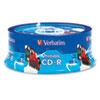 VER96189 Hub Inkjet Printable CD-R Discs, 700MB/80min, 52x, White, 25/Pack VER 96189