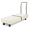 Steel power coated folding table cart holds 12 tables.