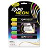 SAN1752226 Neon Dry Erase Marker, Bullet Tip, Assorted, 5 per Pack SAN 1752226
