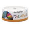 MEM05541 DVD+RW Discs, 4.7GB, 4x, Spindle, Silver, 25/Pack MEM 05541