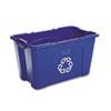 RCP571873BE Stacking Recycle Bin, Rectangular, Polyethylene, 18 gal, Blue RCP 571873BE