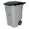 RCP9W27GY Brute Rollout Container, Square, Plastic, 50 gal, Gray RCP 9W27GY