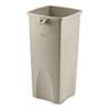 RCP356988BG Untouchable Waste Container, Square, Plastic, 23 gal, Beige RCP 356988BG
