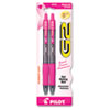 PIL31331 G2 Pink Ribbon Retractable Gel Ink Pen, Black Ink, Fine, 2 per Pack PIL 31331