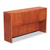 Premium-grade veneer hutch with four wood doors, valance and wire access.