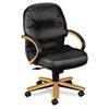 HON2192CSR11 2190 Pillow-Soft Wood Series Mid-Back Chair, Harvest/Black Leather HON 2192CSR11