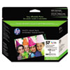 HP 57 Series Ink Cartridge Photo Value Pack w/100 Glossy 4 x 6 Sheets