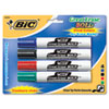BICDECP41ASST Great Erase Bold Dry Erase Markers, Chisel Tip, Assorted, 4/Pack BIC DECP41ASST