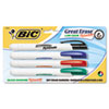 BICDERP41ASST Retractable Low Odor Dry Erase Marker, Chisel Tip, Assorted, 4 per Pack BIC DERP41ASST
