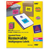 AVE6482 Removable Self-Adhesive Color-Coding Labels, 3-1/3 x 4, Assorted Neon, 72/Pack AVE 6482