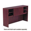 Open storage hutch with durable woodgrain laminate finish and adjustable shelves can be customized to your needs with optional door set and tackboard.