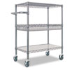 Three-tier industrial strong wire rolling cart with four casters and a handle.