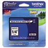 BRTTZE211 TZe Standard Adhesive Laminated Labeling Tape, 1/4w, Black on White BRT TZE211