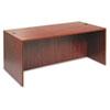 Woodgrain laminate desk shell with full-length modesty panel.