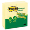 MMM654RP24YW Original Recycled Note Pads, 100 3 x 3 Sheets, Canary Yellow, 24 Pads/Pack MMM 654RP24YW