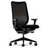 Swivel/tilt work chair with stretch back, fabric seat, adjustable arms and five-star base with casters.