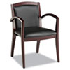 ALERL43BLS10M Reception Lounge Series Guest Chair, Mahogany/Black Leather ALE RL43BLS10M