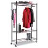 ALEGR354818BL Wire Shelving Garment Rack, Coat Rack, Stand Alone Rack, Black Steel w/ Casters ALE GR354818BL
