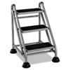 CSC11834GGB1 Rolling Commercial Step Stool, 3-Step, 26 3/5 Spread, Platinum/Black CSC 11834GGB1
