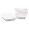 Stackable foam carryout containers with hinged lid.