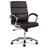 ALENR4219 Neratoli Mid-Back Swivel/Tilt Chair, Black Soft-Touch Leather, Chrome Frame ALE NR4219