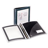 Flexible round ring presentation binder, with graphic border on the cover. See-through view pocket and customizable outside and inside front cover.