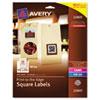 AVE22805 Print-To-The-Edge Matte Square Labels W/ TrueBlock, 1-1/2 x 1-1/2, White 600/Pk AVE 22805