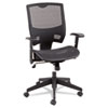 Mid-back chair with ratchet back height adjustment, mesh covered seat and back, adjustable arms, 5-star base with casters.