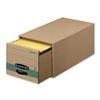 FEL1231101 Super Stor/Drawer Steel Plus Storage Box, Letter, Kraft/Green, 6/Carton FEL 1231101