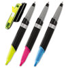 MMM691HLP3BLK Flag + Highlighter and Pen, BE/PK/YW, Black Contemp Barrel, Chisel, 3/Pk MMM 691HLP3BLK
