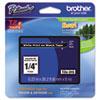 BRTTZE315 TZe Standard Adhesive Laminated Labeling Tape, 1/4w, White on Black BRT TZE315