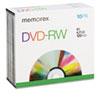 MEM05512 DVD-RW Discs, 4.7GB, 4x, w/Slim Jewel Cases, Silver, 10/Pack MEM 05512