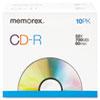 MEM04514 CD-R Discs, 700MB/80min, 52x, w/Slim Jewel Cases, Silver, 10/Pack MEM 04514