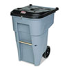 RCP9W1088GY Roll-Out Heavy-Duty Waste Container, Square, Polyethylene, 65 gal, Gray RCP 9W1088GY