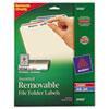 AVE6466 Removable Filing Labels for Inkjet/Laser, 2/3 x 3-7/16, Assorted, 750/Pack AVE 6466
