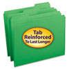 SMD12134 File Folders, 1/3 Cut, Reinforced Top Tab, Letter, Green, 100/Box SMD 12134