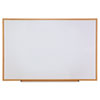 UNV43621 Dry-Erase Board, Melamine, 72 x 48, White, Oak-Finished Frame UNV 43621