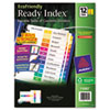 AVE11083 EcoFriendly Ready Index Table of Contents Divider, Multicolor 1-12, Letter, 3/PK AVE 11083