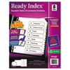 AVE11132 Ready Index Classic Tab Titles, 8-Tab, 1-8, Letter, Black/White, 1 Set AVE 11132