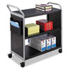 SAF5339BL Scoot Three Shelf Utility Cart, 31 x 18 x 38, Black/Silver SAF 5339BL
