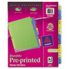 AVE11330 Preprinted Plastic Dividers, 11x8-1/2, A-Z, Assorted AVE 11330