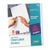 AVE11422 Index Maker White Dividers For Copiers, 8-Tab, Letter, Clear, 5 Sets/Pack AVE 11422