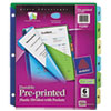 AVE11295 Preprinted Six-Tab Double Pocket Dividers, 11x8-1/2, 1-6, Assorted AVE 11295
