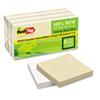 RTG27411 Sugar Cane Self-Stick Notes, 3 x 3, White/Natural, 100 sheets/pad, 12 pads/PK RTG 27411
