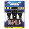 Value Bright LED Flashlights, Black, 3/Pack - RAYBRSLED3PKB-UNS