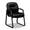 HON2093SR11T Leather 2090 Pillow-Soft Series Guest Arm Chair, Black HON 2093SR11T