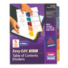 AVE12171 Ready Index Easy Edit Contents Dividers, Title 1-5, Letter, Multicolor, 6 Sets AVE 12171