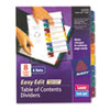 AVE12172 Ready Index Easy Edit Contents Dividers, Title 1-8, Letter, Multicolor, 6 Sets AVE 12172